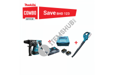 Makita Combo DHR242 Cordless Rotary Hammer 24mm with Cordless Blower and BL1850B Lithium-Ion Battery Pack 18V 5Ah ( 2 Batteries + 1 Charger)